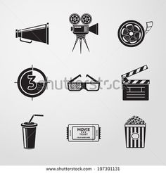 Cinema (movie) icons set with - cinema projector, film strip, 3D glasses,  clapboard, popcorn in a striped tub, cinema ticket, glass of drink.