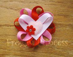 Valentines Clippie Ribbon Crafts, Ribbon Bows, Ribbons, How To Make Hair, How To Make Bows, Making Hair Bows, Bow Making, Valentine Day Crafts, Valentines