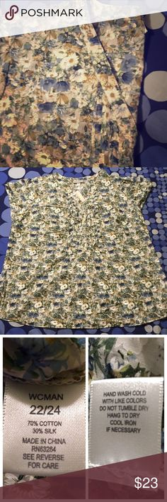 """NWT Short sleeve SILK top Size 22/24 NWT! 70% cotton/ 30%silk. Beautiful muted floral pattern in neutrals and shades of blue. Tuxedo ruffle detail in front . V-neck 1/2 button top with adorable cap sleeves. Measures about 26"""" from armpit to armpit. Measures about 28"""" from top of shoulder to hem.  NO TRADES. All offers must be made using the """"offer"""" option to be considered. No lowballing. Dress Barn Tops"""