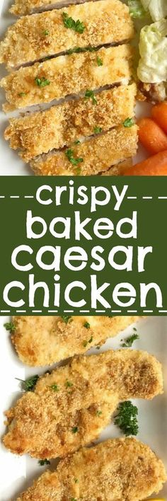 Baked Caesar chicken is coated with a crunchy & crispy Caesar mixture and cooks in the oven to crispy perfection. A healthy dinner with minimal ingredients that everyone will love. You'll want to make this baked Caesar chicken again and again!
