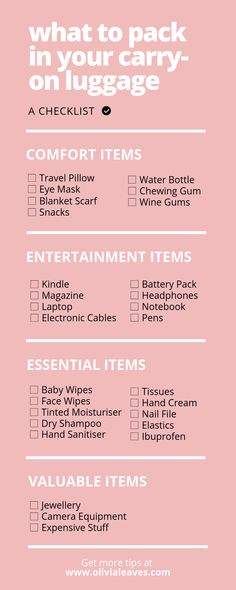 packing My Carry-On Essentials What should you pack in your carry-on luggage? Here's your checklist! Travel Packing Checklist, Carry On Packing, Travelling Tips, Packing Ideas, Packing Hacks, Packing List For Vacation, Travel List, Vacation Ideas, Traveling