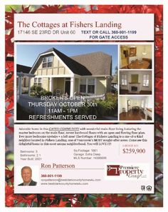 Real Estate For Sale: Thurs (10-30-14) Brokers OPEN! Now $249,900-3 Bedroom, 2.5 Bath, 1661 SF Adorable Two Story in Gated Community The Cottages at Fishers Landing in Vancouver, WA! Thanks for sharing Ron Patterson?, Premiere Property Group, Vancouver, WA!    #RealEstate #ForSaleRealEstate #RealEstateForSale #BrokersOpen #VancouverRealEstate #RealEstateVancouver #Vancouver #FishersLandingRealEstate #RealEstateFishersLanding #FishersLanding #TheCottages #TwoStory #AdorableHome…