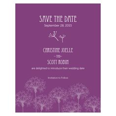 Dandelion Wishes Save The Date Card Plum (24)