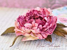 Цветы из кожи Роскошный Пион Брошь в подарок крупная – купить в интернет-магазине на Ярмарке Мастеров с доставкой