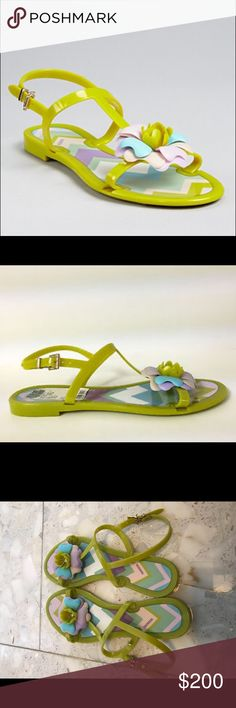 Missoni Beautiful Flowery Sandals Comfy chic and fun! Beautiful jelly sandals with flower detail, perfect for the beach girls that dares to show her fashionista side! This pair is 99% new. Perfect to pair up with your Missoni Bikini!!!!!! Features lilac and green colors! Light and easy to store. Missoni Shoes Sandals
