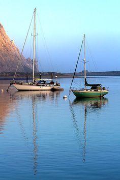 Sailboats Morro Bay California Early Sunrise Sailboat Blue Water Calm Reflections Sunshine Fine Art Print Photography Digital Painting