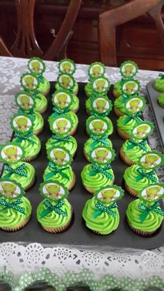 Mini cupcakes del Sapo Pepe Mini Cupcakes, Birthdays, Desserts, Food, Baby Shower Ideas, Fiesta Party Favors, Paper Crafting, Theme Parties, Meal