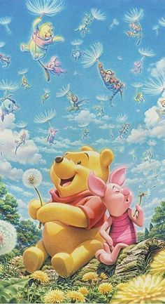 """Pooh and Piglet Blowing the Fairies Free. """"Winnie the Pooh and Friends"""" Disney Winnie The Pooh, Winne The Pooh, Winnie The Pooh Quotes, Winnie The Pooh Friends, Winnie The Pooh Drawing, Piglet Winnie The Pooh, Heros Disney, Walt Disney, Disney Characters"""