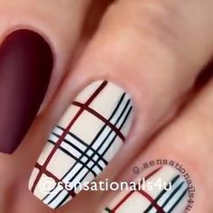 Nails inspired by Burberry Plaid Nails inspired by Burberry Plaid. Video By: Yamile Diaz Nail Art Designs Videos, Nail Art Videos, Burberry Nails, Burberry Plaid, Plaid Nail Art, Diy Plaid Nails, Plaid Nail Designs, New Nail Art, Cute Acrylic Nails
