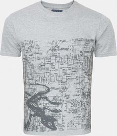 Zovi Elements Grey Melange Graphic T-shirt - Zovi Mens Tees