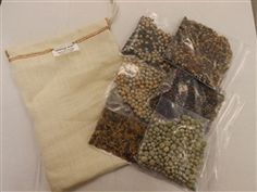 Our hemp bag kit with a plus - you get a dozen seed mixes, sample sizes, and directions so you can sprout beans and grains.
