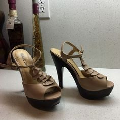 """5.5"""" sexy T strap heels Lightly worn. Heel cap not even worn in on the bottom!These are a part of my 3 pairs for $30 sale! Choose 2 other select pairs of shoes for the deal! Or make me an offer However flash sale prices are firm and for a limited time! Wild Diva Shoes Heels"""