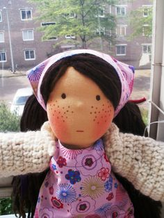 Waldorf Doll - digging the freckles