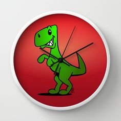 T-Rex - Dinosaur Wall Clock #Cardvibes #Tekenaartje #Society6