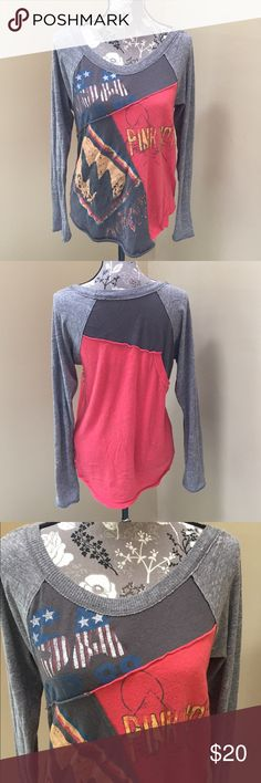 Free People We the Free long sleeve top We the Free long sleeve top with fun graphic. Size size. Super cute. 100% cotton. Great condition. Made to look weathered/ vintage a bit. Very soft Free People Tops Tees - Long Sleeve
