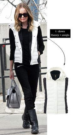 [Sundance Style] Kate Bosworth in a t-down vest by Uniqlo + Theory