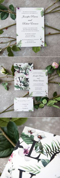 organic greenery floral wedding invitations suite with two sides printing