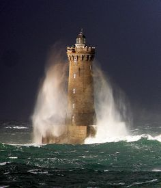 What a spectacular sight. The ocean is so powerful ~ Le Four Lighthouse ~ Brittany, France