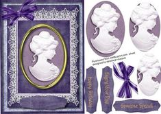 Lovely Cameo lady ihn Deep Lilac on Craftsuprint designed by Ceredwyn Macrae - A lovely card to make and give to anyone on there special day Lovely Cameo lady in deep lilac a lovely card has three greeting tags and a blank one for you to choose the sentiment, - Now available for download!