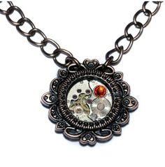 Steampunk Jewelry Necklace Fire Opal Crystal