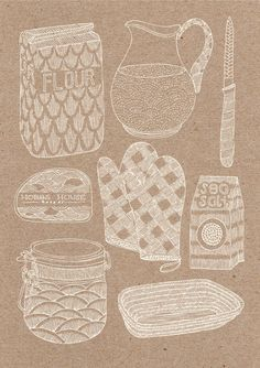 Hobbs House Bakery by Millie Marotta, via Behance I. Think. This better for screen on product. It look modern more. For cheap material Cake Illustration, Food Illustrations, Georgia, Hobbs, Kitchen Art, Book Design, Illustrators, Print Patterns, Kendall Jenner