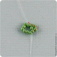 Этот мастеркласс рассчитан на тех, кто владеет таким нехитрым видом плетения как пейот или мозаичное плетение. Вам понадобятся: 1. Одна бусина-основа диаметром 20 мм. 2. Бисер 11/0. 3. Тонкая игла и подходящая нитка. Я предпочитаю мононить. Она не видна в плетении и не портит вид бусин. 4. Палочка или тонкий крючок для вязания. Шаг 1. Нанижите на нить 10 бисерин и свяжите в колечко. Шаг 2.