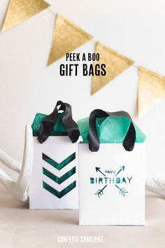 DIY Peek A Boo Gift Bags made with Cricut Explore -- Confetti Sunshine. #DesignSpaceStar Round 3