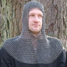 Chain mail coif, butted spring steel, battle-ready