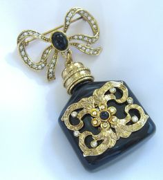 Vintage Perfume Bottle Brooch Signed Craft or by BuyVintageJewelry