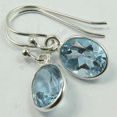 925 Solid Sterling Silver Natural BLUE TOPAZ Gemstones Earrings Best Gift Store #SunriseJewellers #DropDangle