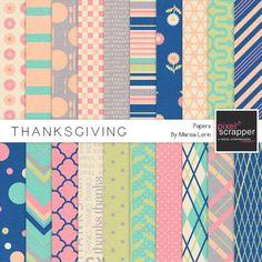Thanksgiving Papers Kit | digital scrapbooking | #thanksgiving #fall