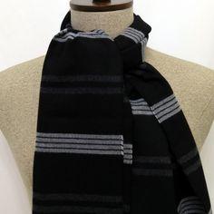 Black, Gray, Burgundy, Stripes Scarf - SC197 #handmadeatamazon #nazodesign