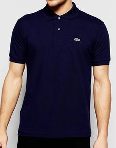 Image 3 ofLacoste Polo Shirt with Croc Logo Regular Fit in Navy