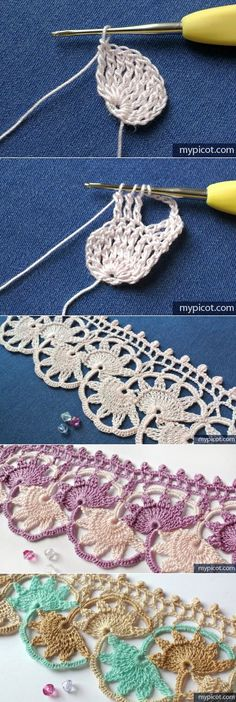 Crochet Lace Edging Pattern Link 41 New Ideas Beau Crochet, Crochet Lace Edging, Crochet Motifs, Crochet Borders, Crochet Diagram, Crochet Stitches Patterns, Thread Crochet, Crochet Trim, Irish Crochet