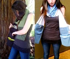 REycled fabric scarf with pockets and detachable hoodie (snaps) - good for sports games. Two mitten pockets, two cargo pockets