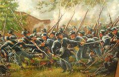 TREMENDOUS Vintage Civil War Oil Painting Battle of Antietam N Henry Bingham | eBay