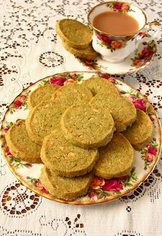 White Chocolate Green Tea Shortbread Cookies - biscuits made with Teavivre Chinese tea