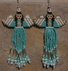 Angel Earrings Hand Made Seed Beaded. $25.00, via Etsy.