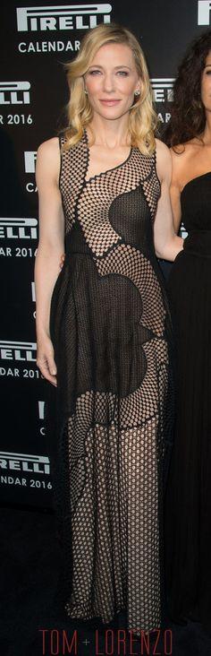Cate Blanchett, in Stella McCartney, at the 2016 Pirelli Calendar cocktail reception & gala dinner in London.