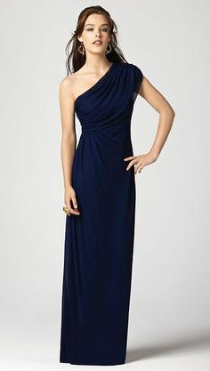 Dessy Collection Draped One Shoulder Long Bridesmaid Dress 2858 image