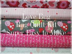 Love Bugs Rag Quilt Kit,  Easy to Make, Personalized by beffie48 on Etsy