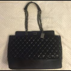 Bebe Ava Quilted Tote in black In perfect condition✔️✔️✔️. Only handles have some flaws. bebe Bags Totes