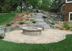 Best Photographs Backyard Fire Pit on a hill Ideas Most of modern day people want for over a traditional timber deck using a barbecue grill of their backyards. Sloped Yard, Sloped Backyard, Fire Pit Backyard, Backyard Patio, Backyard Ideas, Firepit Ideas, Backyard Projects, Outside Fire Pits, Cool Fire Pits