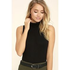 In the Air Black Turtleneck Crop Top ($27) ❤ liked on Polyvore featuring tops, black, turtle neck top, sleeveless turtleneck tops, sleeveless turtleneck, cropped turtleneck and stretchy tops