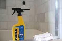 spray rain-x on your shower door to keep it clean