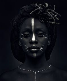 ♀ Black and white woman portrait - face of a African woman silver makeup