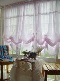 Victorian Pink with White Lace Adjustable Balloon Curtain