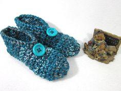 Crochet Slippers in Dark Teal ~ Size Medium, Womens House Shoes ~ Gift for Mom ~ Present for Grandma ~ Warm, Cozy Slip On Slipper Socks by crochetedbycharlene on Etsy
