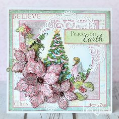 Sparkling Poinsettia Scene -#Christmascard from #HeartfeltCreations