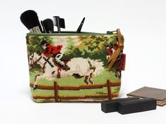 Needlepoint jumping horses tapestry zippered pouch - cosmetic bag - pinned by pin4etsy.com